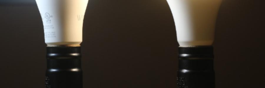 Wyze Bulb and Teckin Bulb arranged beside each other - both turned on