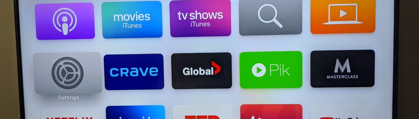 Apple TV playing on TV